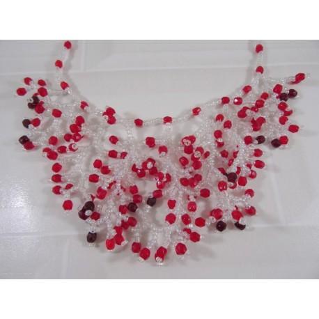 Collier corail duo rouge et transparent