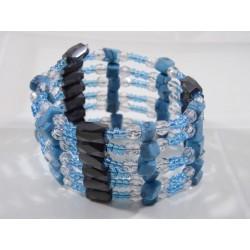 Collier-bracelet magnétique turquoise, transparent et noir