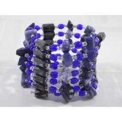 Collier-bracelet magnétique bleu roi