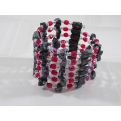 Collier-bracelet magnétique rouge et noir