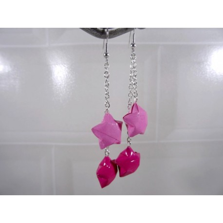 Boucles Etoiles Origami rose 2 tons