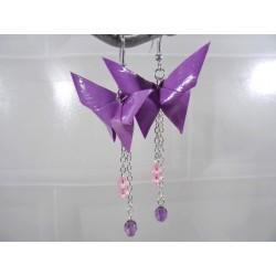Boucles Papillons Origami violet avec fleurs parme