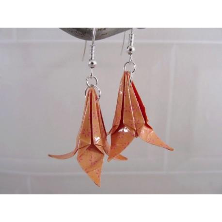 Boucles Lys Origami orange avec petites fleurs rose