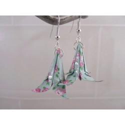 Boucles Lys Origami bleu avec fleurs rose