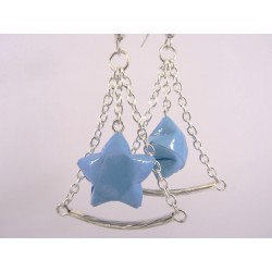 Boucles Trapèze Etoilé Origami bleu ciel