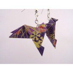 Boucles Oiseaux Origami motif japonisant violet foncé