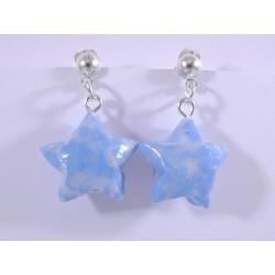 Boucles Origami Nova bleu ciel transparent avec trèfles