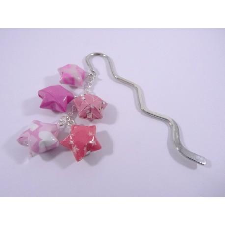 Marque-Page Origami Constellation rose avec fleurs