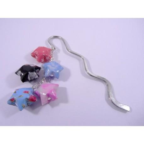Marque-Page Origami Constellation rose et bleu