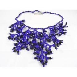 Collier corail bleu et noir