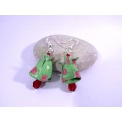Boucles Tulipes Origami vert avec fleurs rouges