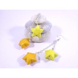 Boucles Etoiles Origami jaune et orange