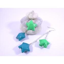 Boucles Etoiles Origami vert 2 tons