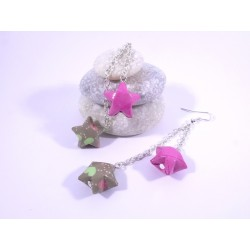 Boucles Origami Duo Céleste fuchsia et vert