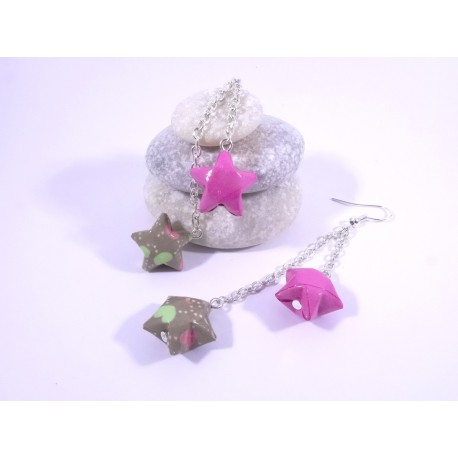 Boucles Origami Duo Céleste fuschia et vert