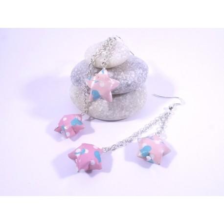 Boucles Origami Duo Céleste rose avec coeurs