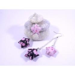 Boucles Origami Duo Céleste rose et noir avec fleurs et trèfles
