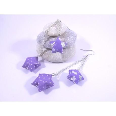 Boucles Origami Duo Céleste violet avec trèfles et pois