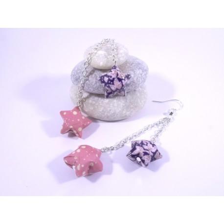 Boucles Origami Duo Céleste violet et rose avec pois et fleurs