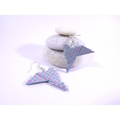 Boucles Oiseaux Origami bleu avec fleurs rose