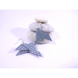 Boucles Oiseaux Origami bleu à petits pois bleus