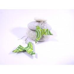 Boucles Oiseaux Origami motif géométrique vert
