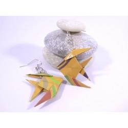 Boucles Poissons Origami motif géométrique orange