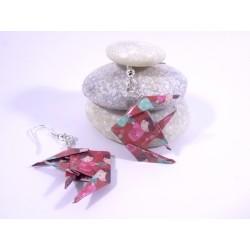 Boucles Poissons Origami rose avec poupée kokeshi