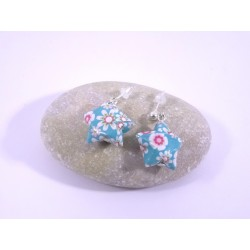 Boucles Origami Nova turquoise avec fleurs
