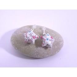 Boucles Origami Nova blanc avec fleurs rose et bleues