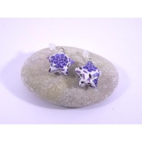 Boucles Origami Nova blanc avec grosses fleurs bleues