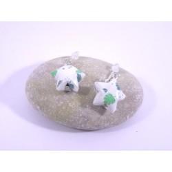 Boucles Origami Nova blanc avec feuilles vertes