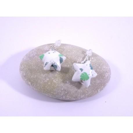 Boucles Origami Nova blanc avec fleurs vertes
