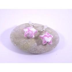 Boucles Origami Nova rose avec coeurs blancs
