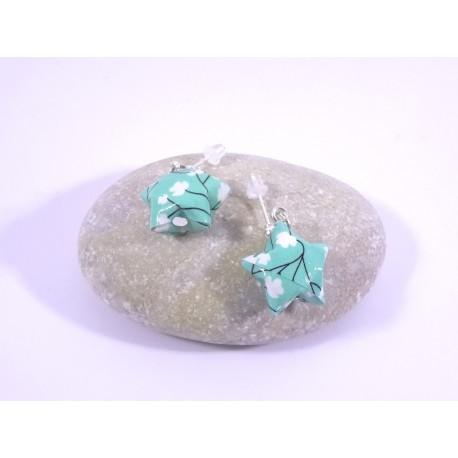 Boucles Origami Nova vert d'eau avec fleurs blanches