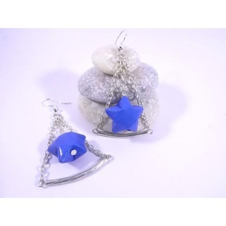 Boucles Trapèze Etoilé Origami bleu roi