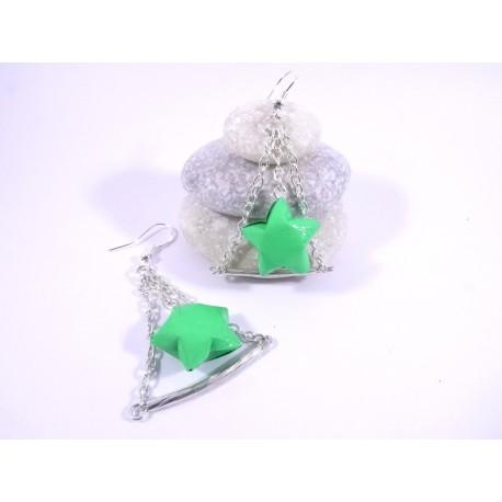 Boucles Trapèze Etoilé Origami vert