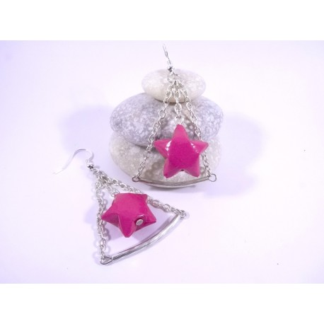 Boucles Trapèze Etoilé Origami rose