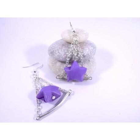 Boucles Trapèze Etoilé Origami violet