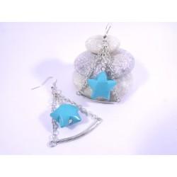 Boucles Trapèze Etoilé Origami bleu-vert