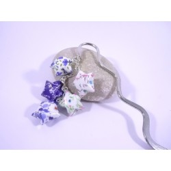 Marque-Page Origami Constellation bleu avec fleurs