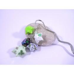 Marque-Page Origami Constellation vert et noir avec fleurs