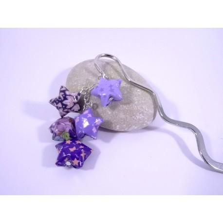 Marque-Page Origami Constellation violet avec fleurs et étoiles
