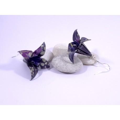Boucles Lys Origami motif japonisant violet foncé