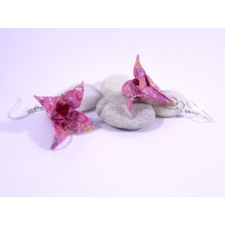 Boucles Lys Origami rose clair avec fleurs multicolores