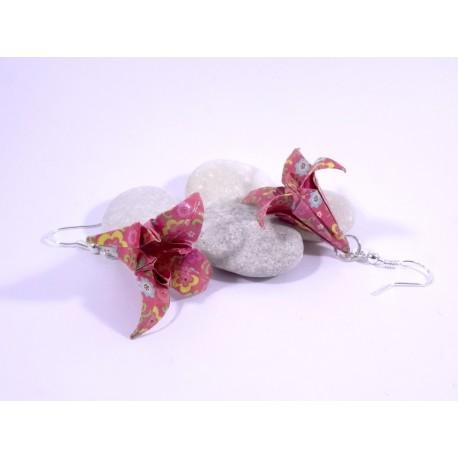 Boucles Lys Origami rose foncé avec fleurs multicolores