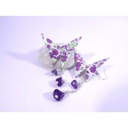 Boucles Papillons Origami blanc avec fleurs violettes