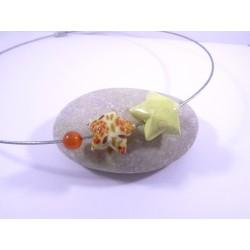 Collier Origami Etoiles Filantes orange et jaune