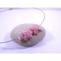 Collier Origami Etoiles Filantes rose avec fleur