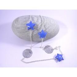 Sautoir Origami Voie Lactée bleu avec petits bateaux
